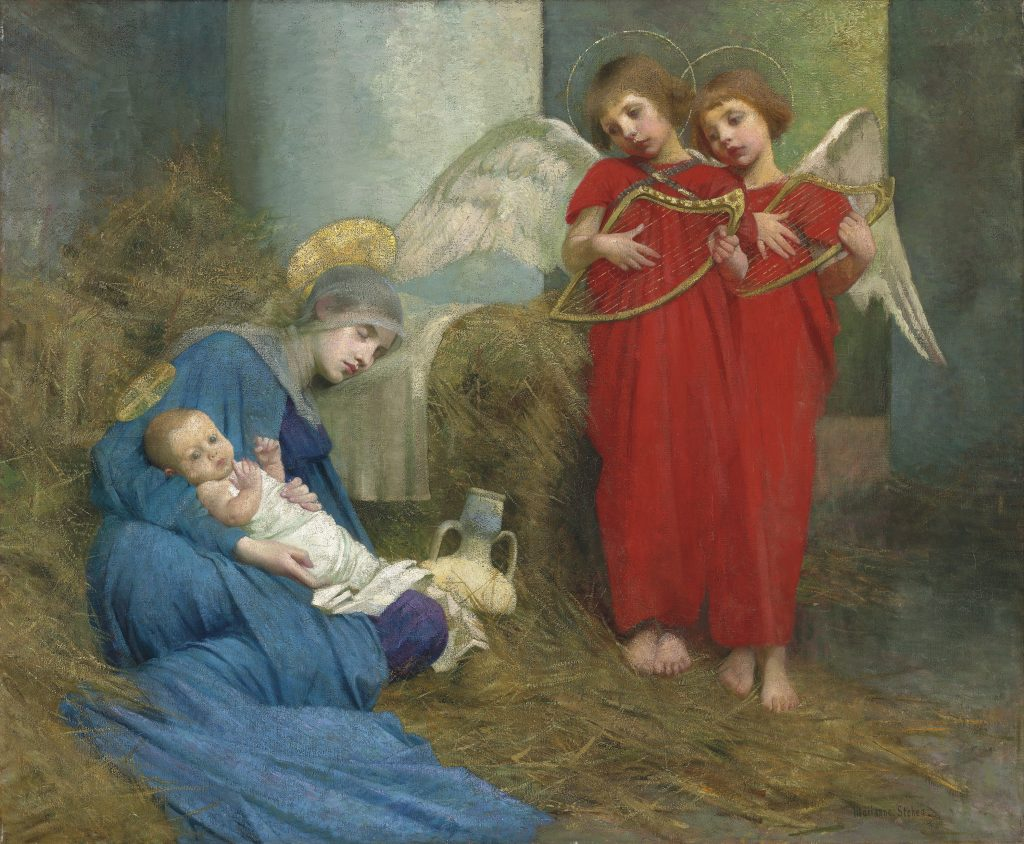 "Marianne Stokes ""Angels Entertaining the Holy Child"""