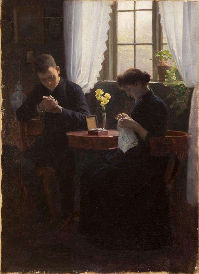 """Carl Thomson, """"Interior with Couple,"""" 1890"""