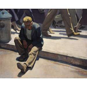 Painting of Maynard Dixon Forgotten Man 1934 Oil on Canvas 40 x 50 1.125 Herald R Clark Memorial Collection