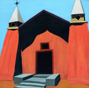 "Harold Joe Waldrum (1934-2003), La Iglesia en Corrales, undated, acrylic on canvas, 30"" x 30"", Diane and Sam Stewart Art Collection"