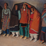 Maynard Dixon, Round Dance, 1931, oil on canvasboard, 15 7/16 x 19 7/8 in., Brigham Young University Museum of Art, gift of Herald R. Clark