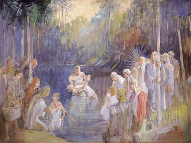 "Minerva Teichert ""Alma Baptizes in the Waters of Mormon"