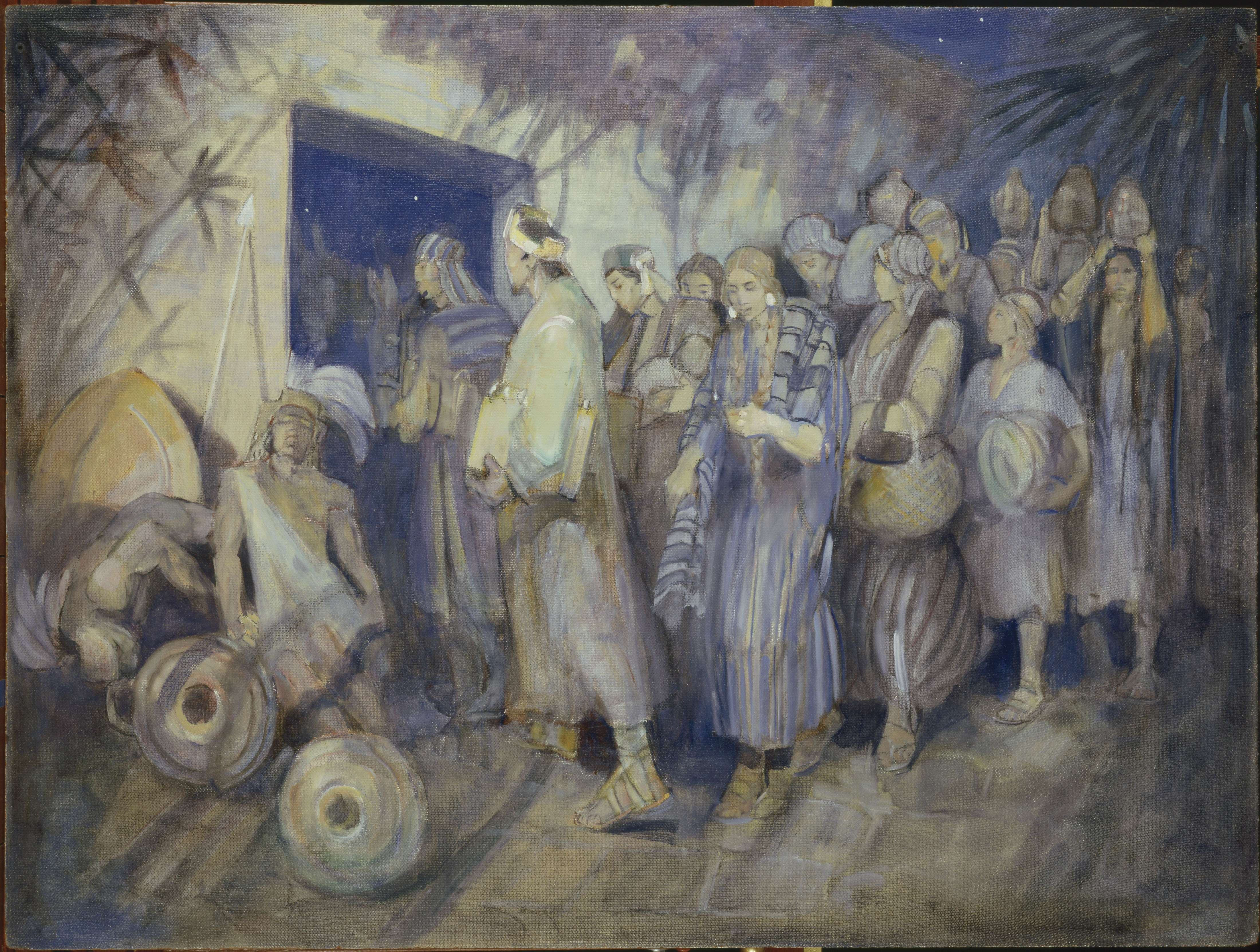 "Minerva Teichert ""Escape of Limhi and his People"""