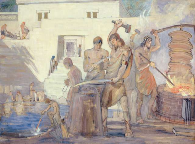 "Minerva Teichert ""Nephi, the Builder, Forging Swords"""