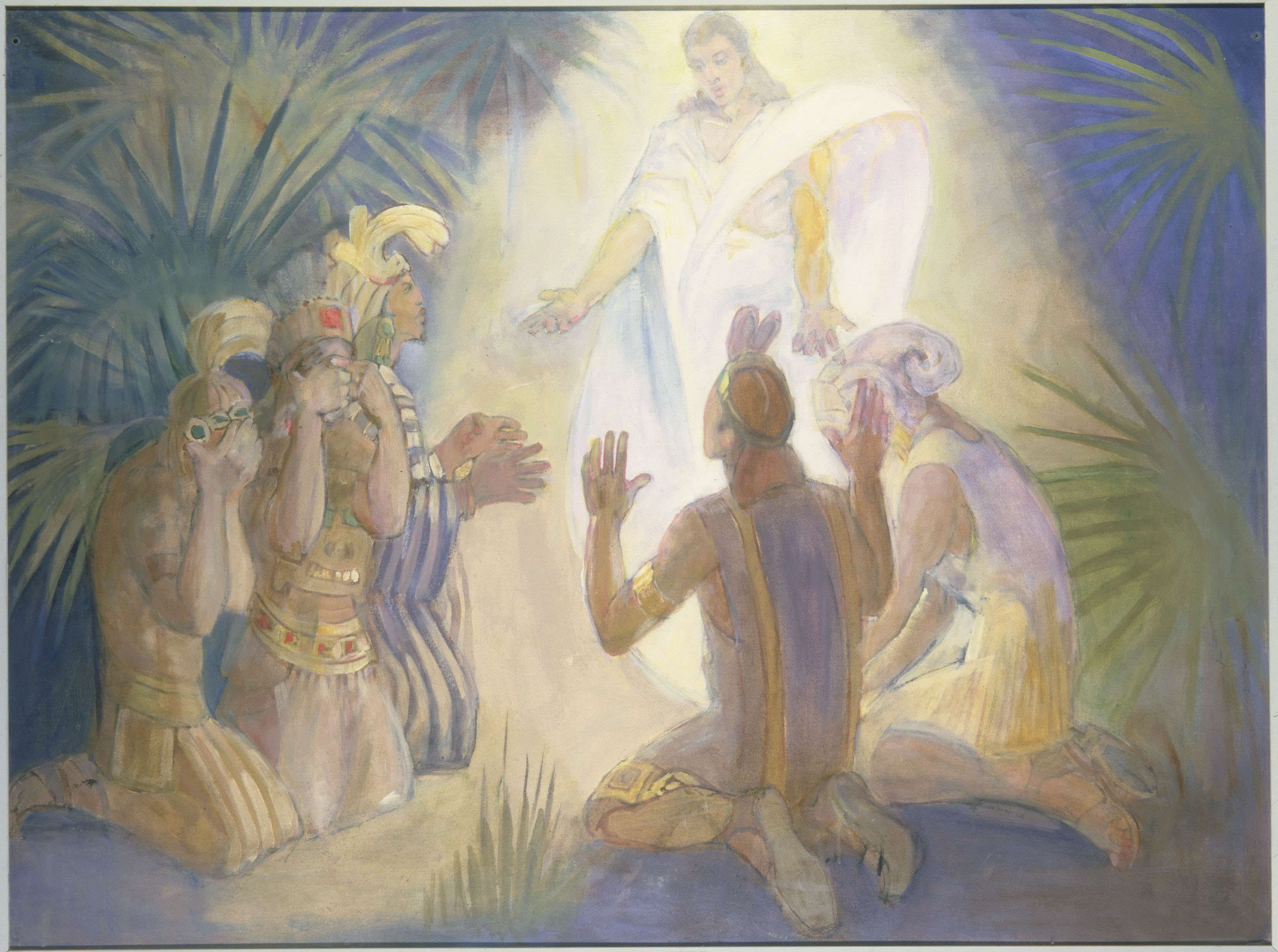 "Minerva Teichert ""An Angel Appears to Alma and the Sons of Mosiah"""
