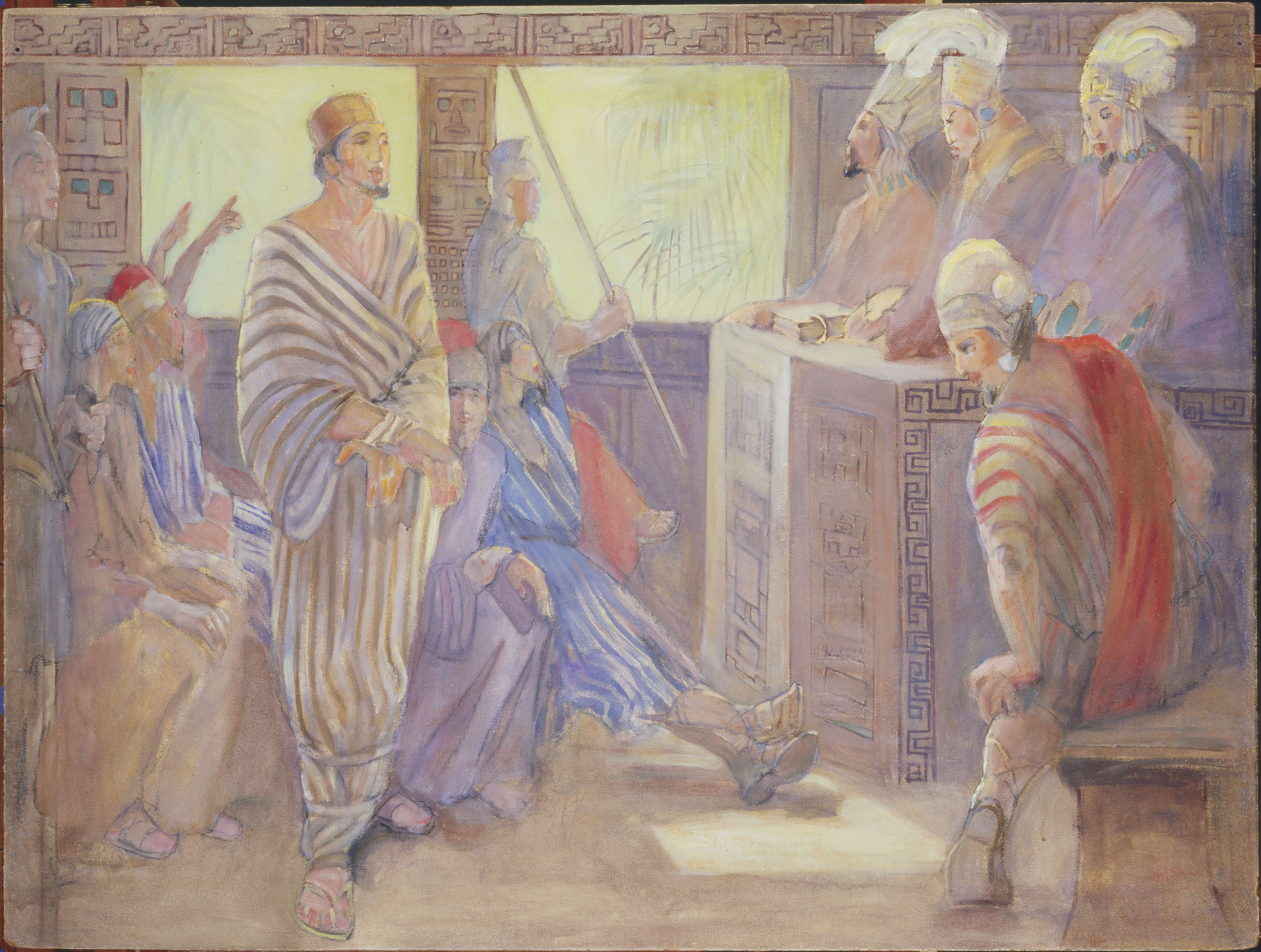 "Minerva Teichert ""The Trial of Abinadi"""