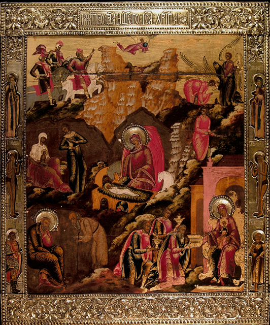 "Icon, Russia ""Nativity and Adoration of the Magi"""