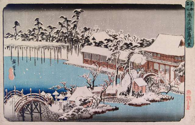"Ando Utagawa Hiroshige, ""Kameido Shrine in Snow"""