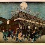 "Ando Utagawa Hiroshige, ""Cherry-Blossoms at Night at Nakanocho in the Yoshiwara, From Famous Places of the Eastern Capital"""