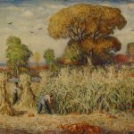 "Mahonri Young, ""Cutting Corn,"" 1937, oil on canvas"