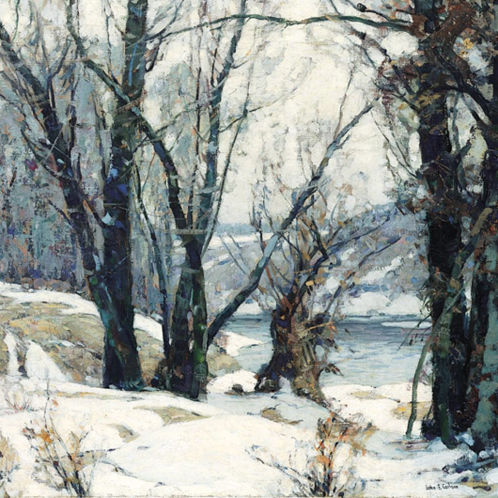 John Fabian Carlson, Winter Willows, c.1937, oil on canvas, 25 x 30 inches. Brigham Young University Museum of Art.