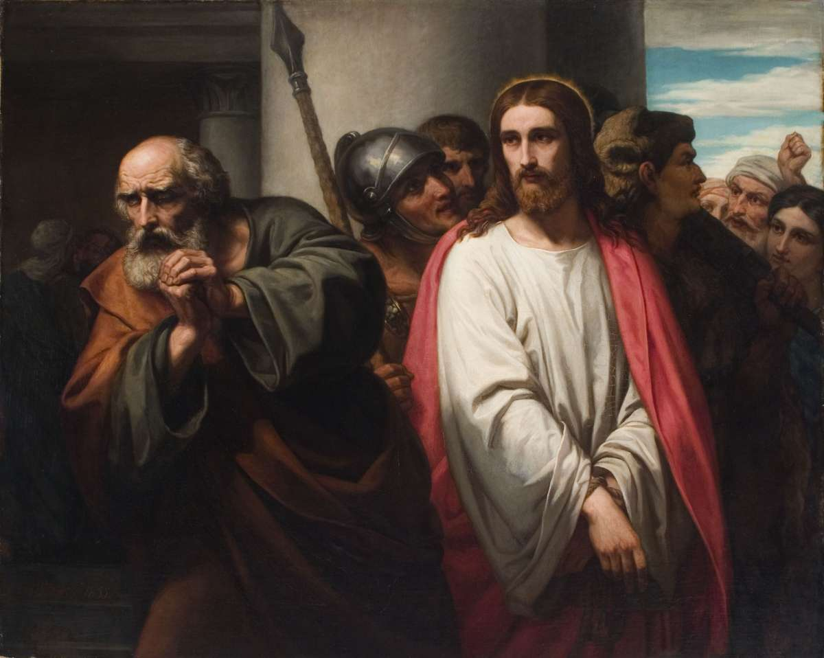 Ary Scheffer (1795-1858), The Denial of Peter, 1855, oil on canvas, 52 x 73 inches. Brigham Young University Museum of Art, gift of Donald Greenwood, 1976.