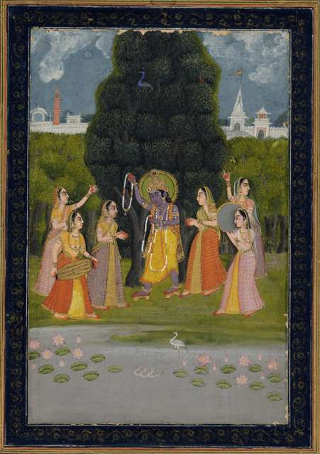"Anonymous, ""Krishna Distributing Necklaces to Gopies,"" 18th century"