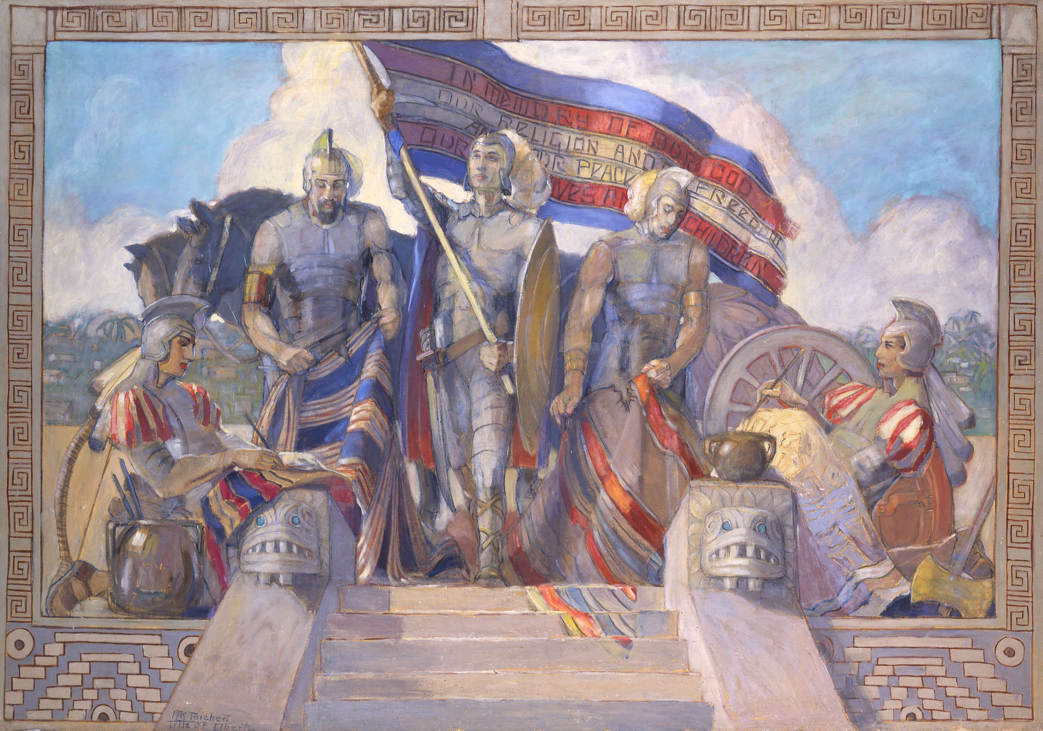 "Minerva Teichert ""Moroni and the Title of Liberty"""