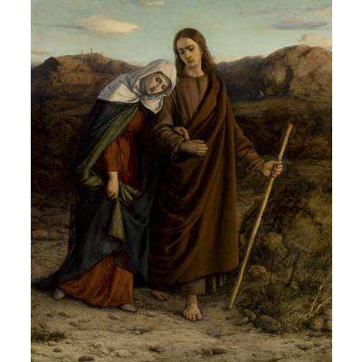William Dyce (1806-1864), St. John Leading Home His Adopted Mother, c.1846, oil on canvas, 14 1/2 x 12 3/8 inches. Brigham Young University Museum of Art, purchased with funds provided by Thomas R. and Diane Stevenson Stone, 2008.