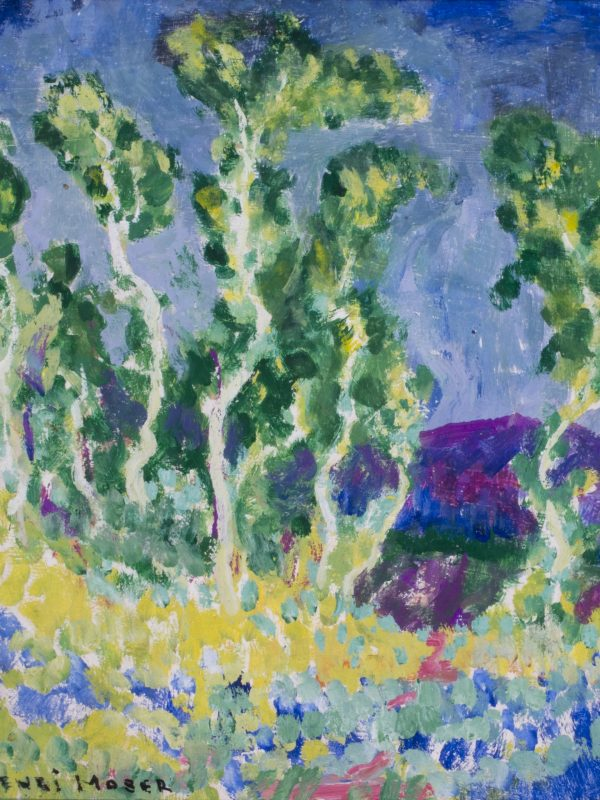 John Henri Moser, Green Aspens, Blue Background