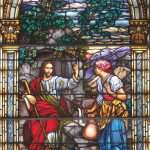 Unknown, Jesus and the Woman at the Well, no date, stained glass, 103 x 70 inches. Brigham Young University Museum of Art, gift of Stanford C. Stoddard, 2013.