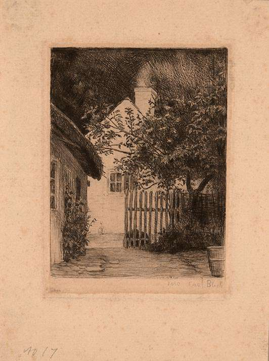 """Carl Heinrich Bloch """"The Two Houses and Fruit Trees"""""""