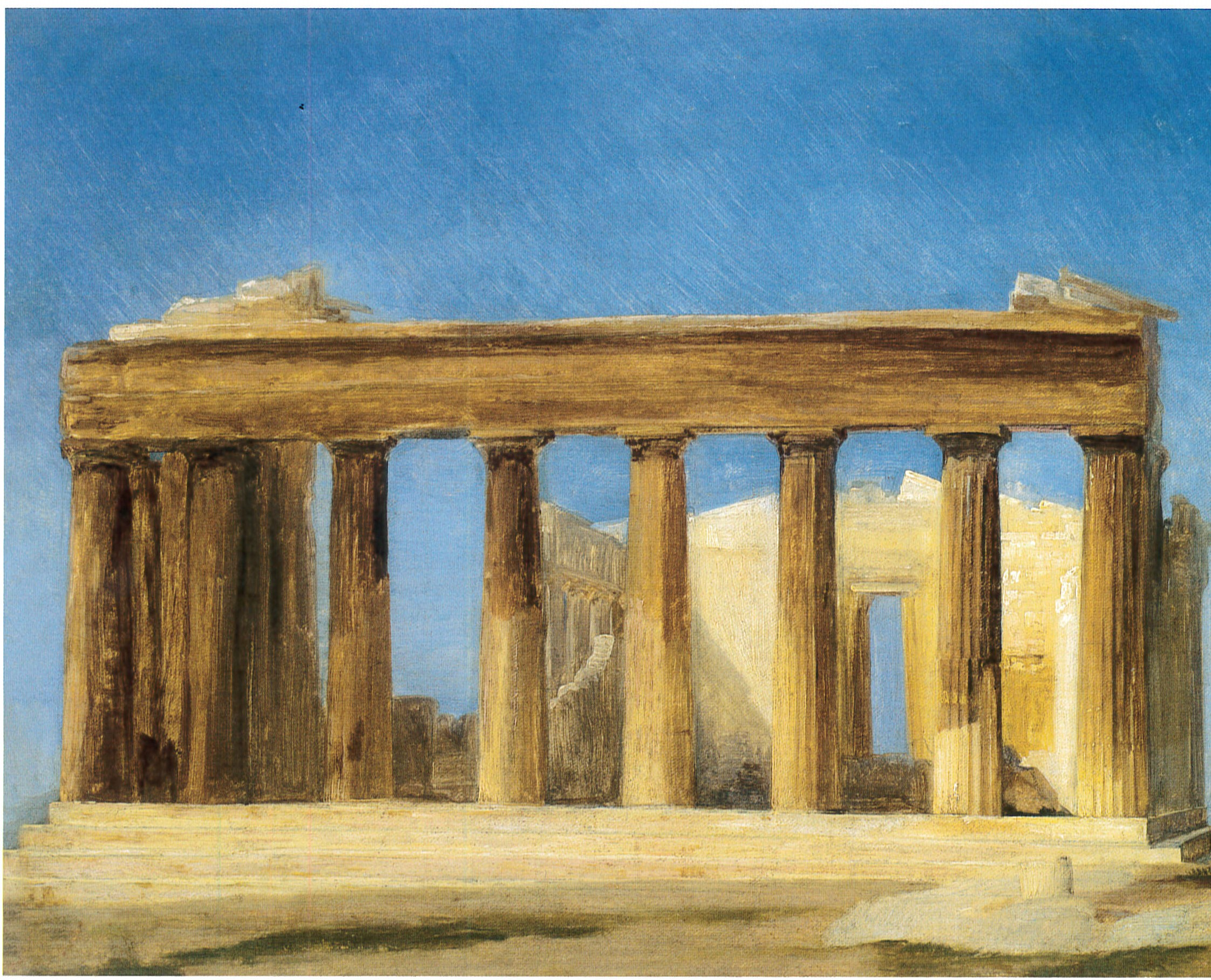 """Carl Bloch, """"Ancient Temple by a Lake,"""" 1862"""