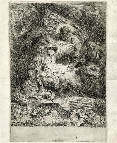 Giovanni Benedett Castiglione (1609-1664), The Nativity with God the Father, the Dove of the Holy Spirit and Two Angels, c.1645, etching, 11 5/8 x 8 inches. Brigham Young University Museum of Art, gift of Ronald and Eileen Ragsdale, 2020.