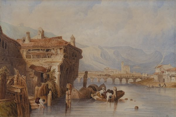 David Roberts (1796-1864), View of Irun, Spain, no date, watercolor, 15 1/2 x 22 15/16 inches. Brigham Young University Museum of Art, gift of Richard and Nadene Oliver, 2020.
