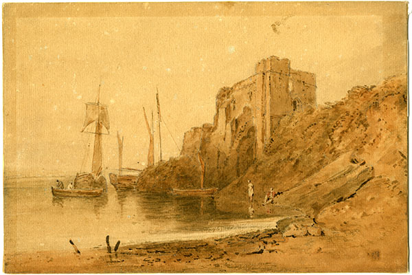 Joseph Mallord William Turner (1775-1851), Ships and Ruins, no date, watercolor, 7 3/4 x 11 3/8 inches. Brigham Young University Museum of Art, gift of Richard and Nadene Oliver, 2020.