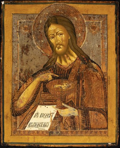 Russian Icon, John the Baptist, no date, tempera on board, 17 3/8 x 14 1/4 inches. Brigham Young University Museum of Art, gift of Richard and Nadene Oliver, 2020.