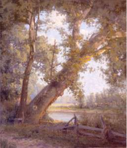 """John Hafen (1856 - 1910), The Sycamore Tree (1908), 105.4 x 90.5 cm (41 1/2 x 35 5/8"""") (Image) Frame: 120 x 104.8 cm (47 1/4 x 41 1/4""""), Oil on canvas, Brigham Young University Museum of Art, gift of J. William Knight."""