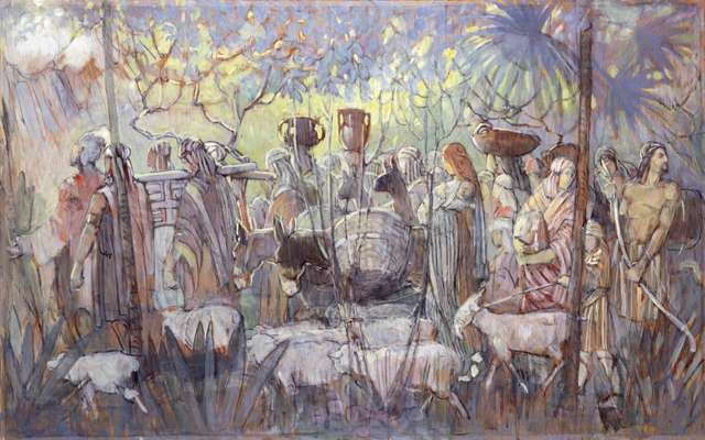 "Minerva Teichert ""Nephi Leads His Followers into the Wilderness"""