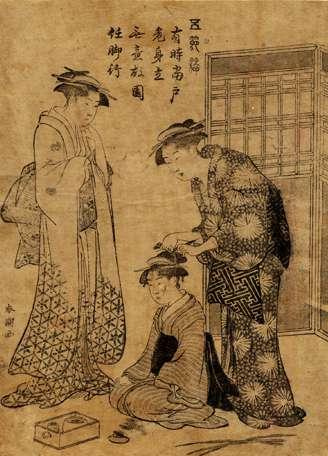 """Katsukawa Shuncho, """"Arranging a Young Girl's Hair - From Series Pastimes for Five,"""" c.1790"""