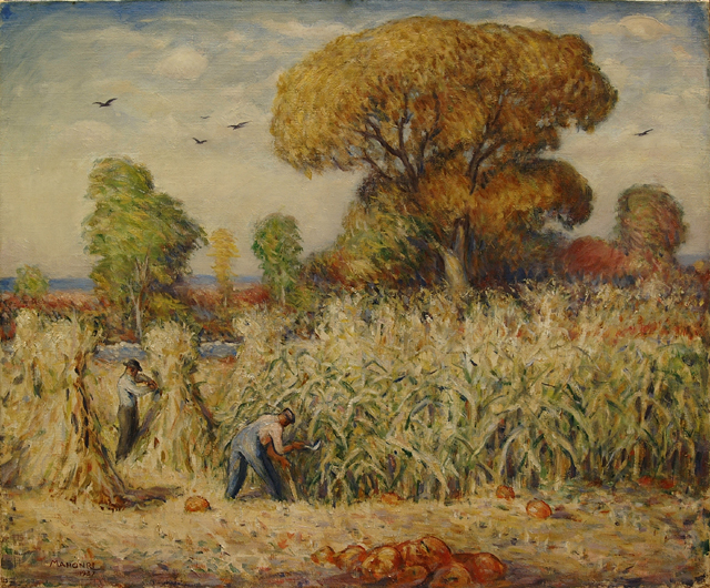 """Mahonri Young, """"Cutting Corn,"""" 1937, oil on canvas"""
