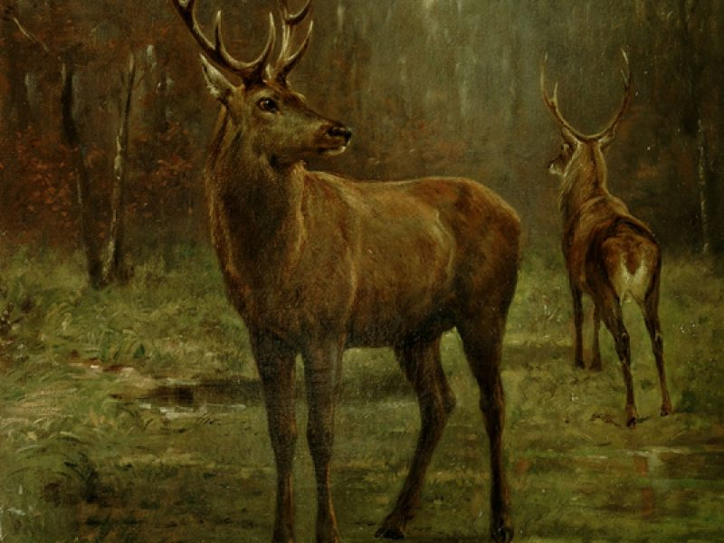 "Rosa Bonheur ""Two Stags on Alert"""