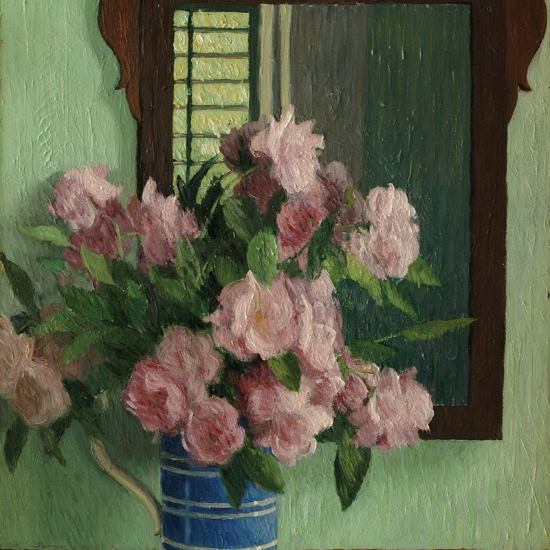 Dorothy Weir Young, Pink Roses in Blue Mug