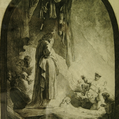 """Rembrandt (1606-1669), """"The Raising of Lazarus: Large Plate (XIII/XIII),"""" c.1632, etching and burin, 14 5/8 x 10 3/16 inches.  Brigham Young University Museum of Art, purchase/gift of Mahonri M. Young Estate, 1959."""
