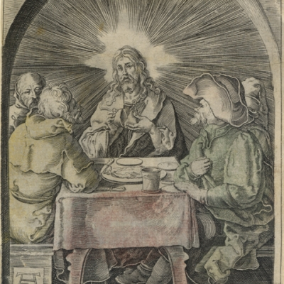 Albrecht Durer (1471-1528), Christ at Emmaus (The Small Passion), c.1510, etching, 5 x 4 inches.  Brigham Young University Museum of Art, purchase/gift of Mahonri M. Young Estate, 1959.