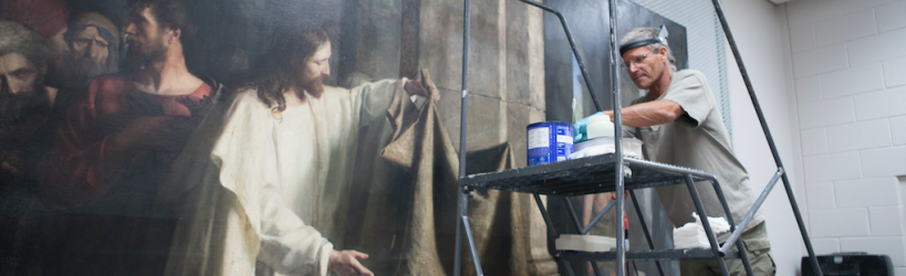 Conservation work on Christ Healing the Sick at Bethesda