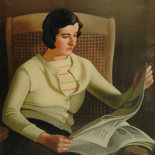 """Dorothy Weir Young, """"Seated Girl Reading Newspaper,"""" c.1930, painting"""