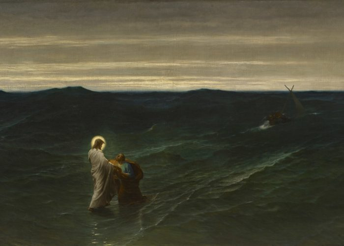 Gustave Brion (1824-1877), Jesus and Peter on the Water, 1863, oil on canvas, 44 1/8 x 72 1/2 in., Brigham Young University Museum of Art, made possible by a generous gift from Vern G. and Judy N. Swanson