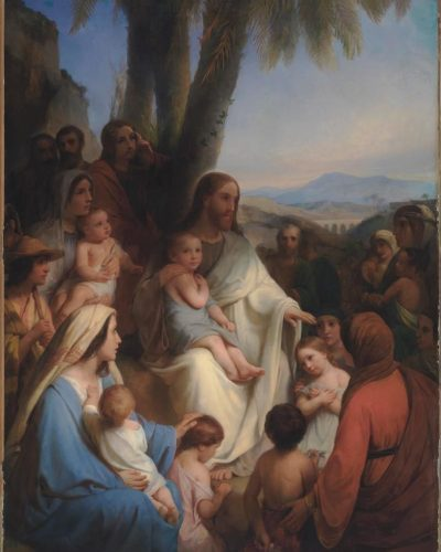 Cornelius Kruseman (1797-1857), Christ Blessing the Children, 1854, oil on canvas, 118 1/4 x 79 inches. Brigham Young University Museum of Art, gift of Brent and Bonnie Jean Beesley Family, 2019.