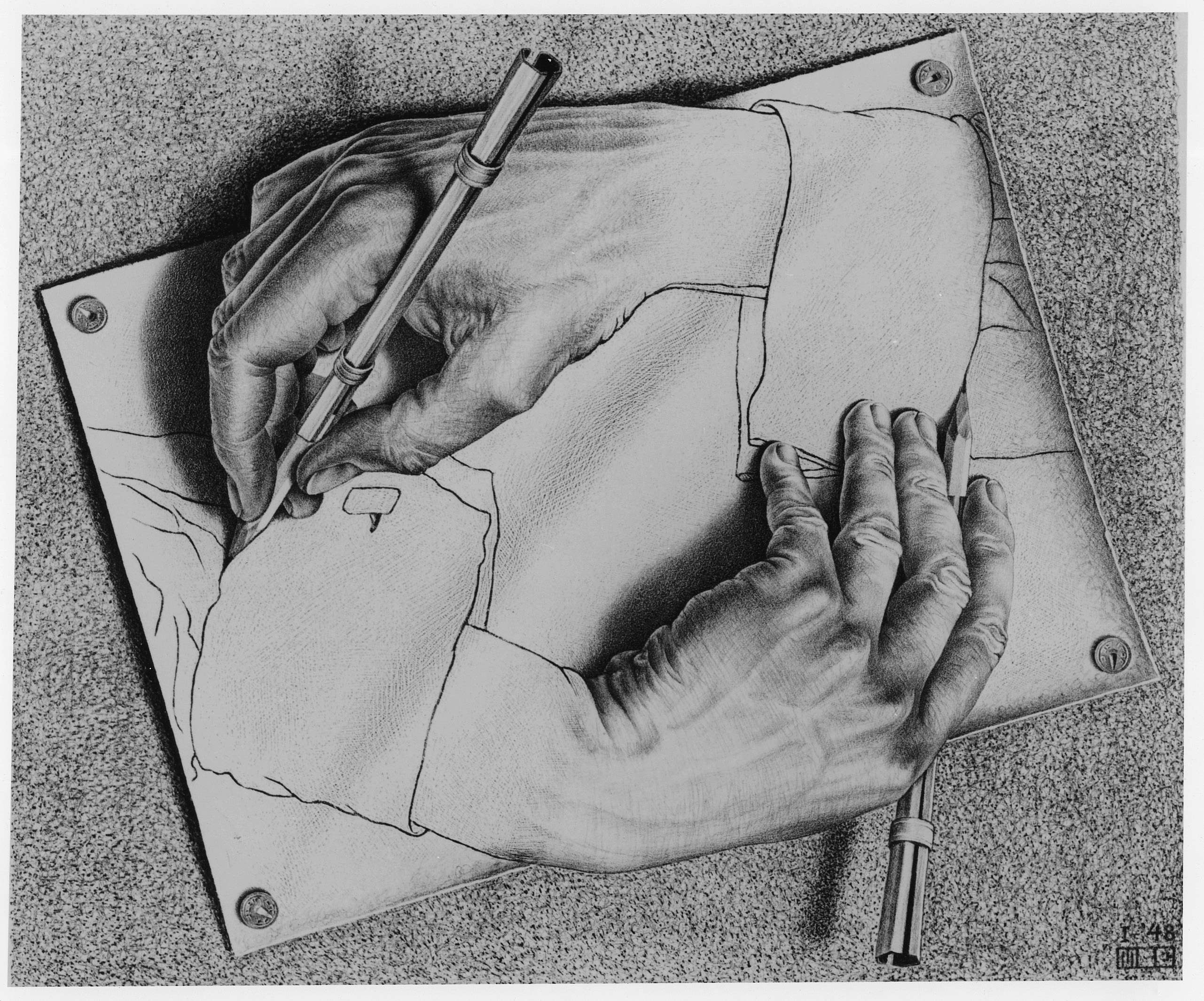 "M.C. Escher, ""Drawing Hands"""