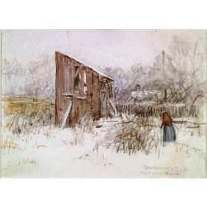 """Mahonri Young, """"Thanksgiving Day, The Old Barn"""""""