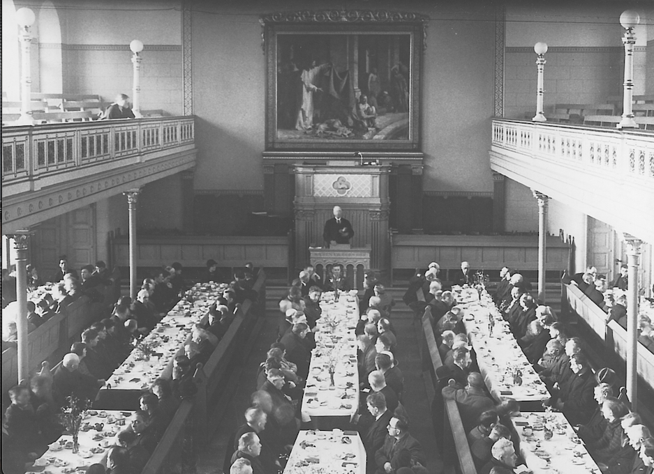 Interior meeting hall at Bethesda Indre Mission, c. 1900