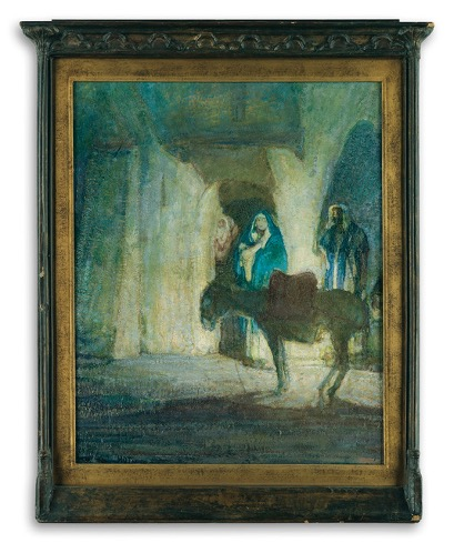 Henry Ossawa Tanner (1859-1937), At the Gates (Flight into Egypt), c.1926-1927, oil on panel, 26 11/16 x 19 1/16 inches. Brigham Young University Museum of Art, purchased with funds provided by Stanford C. Stoddard, 2019.