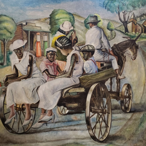 Joseph Paul Vorst (1897-1947), Family on Horse Drawn Cart, no date, oil on board, 32 ¼ x 32 ¼ inches. Brigham Young University Museum of Art, purchased with funds provided by Joyce and George Hill, 2020.