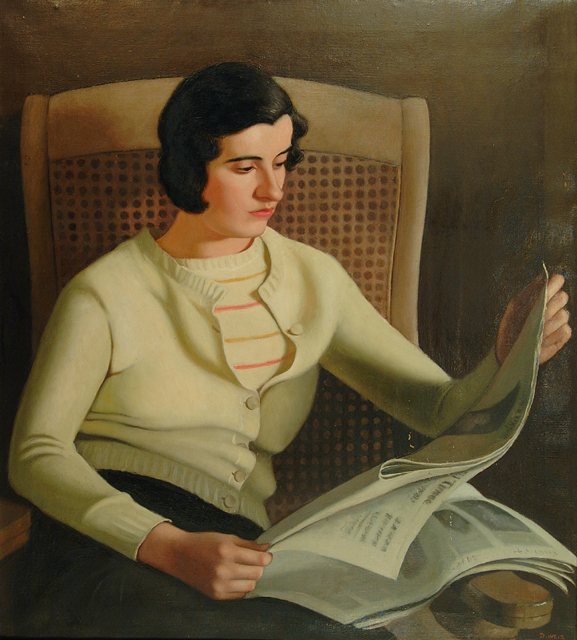 "Dorothy Weir Young, ""Seated Girl Reading Newspaper,"" c.1930, painting"