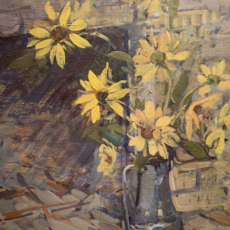 Dorothy Weir Young, Sunflowers in Pewter Pitcher